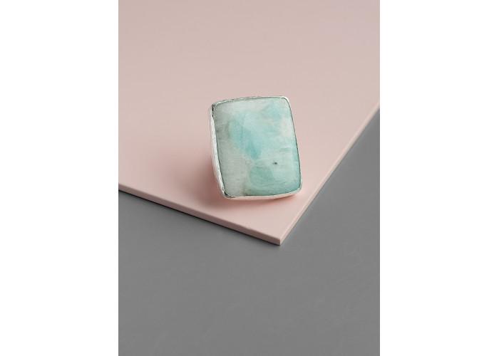 Кольцо с прямоугольным амазонитом // серебро