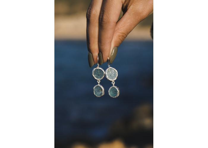 Серёжки с двумя аквамаринами // серебро