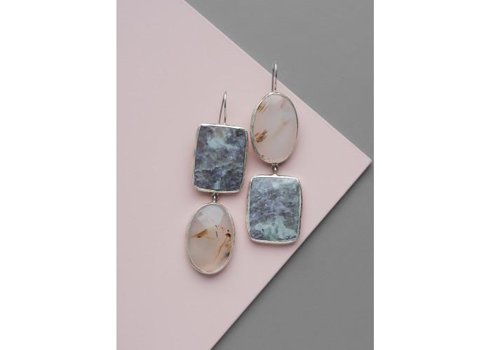 Серьги союзные с лепидолитом и моховым агатом // серебро