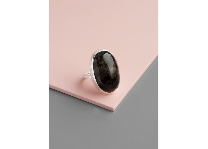 Кольцо с овальным морионом // серебро