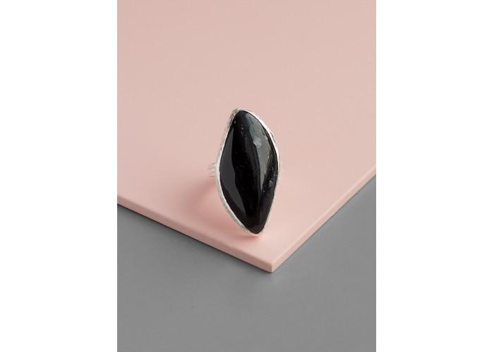 Кольцо с листиком обсидиана // серебро