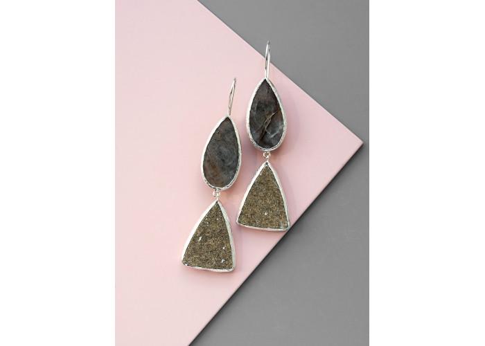 Серьги с лунным камнем и друзой граната // серебро