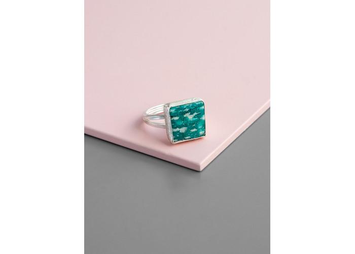 Кольцо с квадратным амазонитом // серебро
