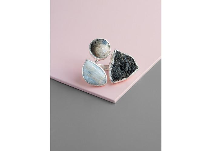 Кольцо с родонитом, агатом и кристаллом шерла // серебро